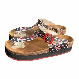 Desigual Polka Dot Foral T Strap Flip Flop Sandals